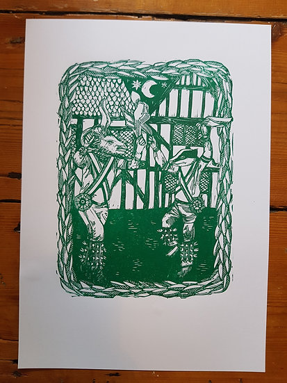 Night Morris : Original Linocut Art Print