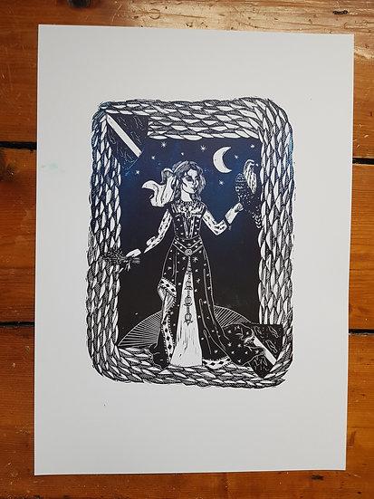 Lady and Hawk Night Sky Medieval heraldry inspired original lino print
