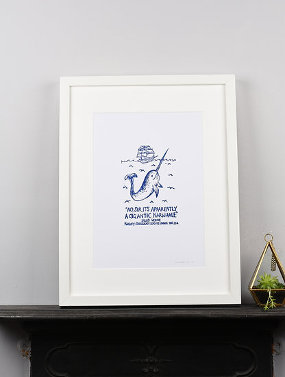Narwhal Jules Verne Literary Quote Lino Print