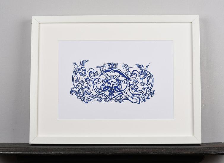 Blue Baroque Original Lino Print