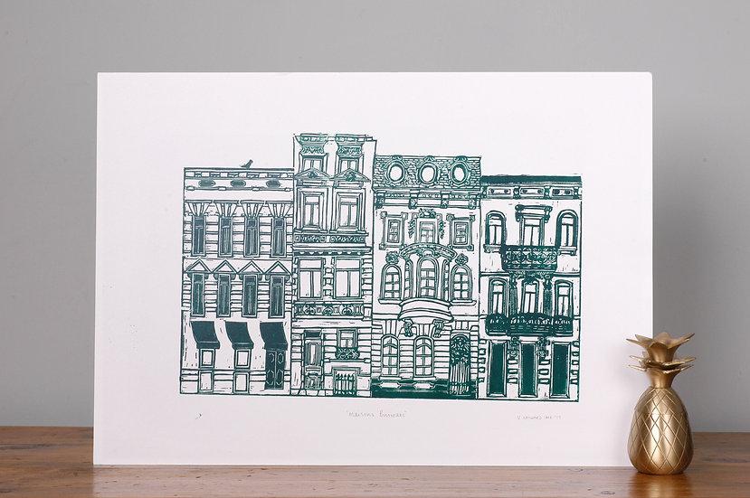 Brussels original artwork lino print architecture