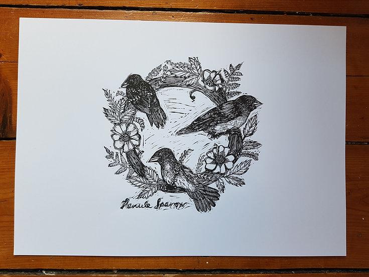 Sparrow and roses botanical wreath original lino print