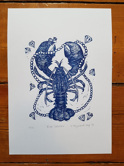 Lobster with diamonds and pearls: original linocut