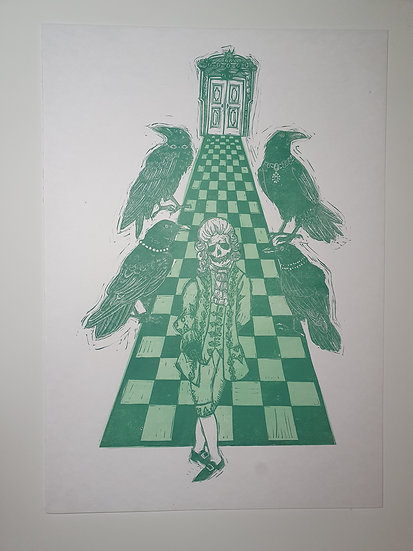 The Ambassador original artwork lino print