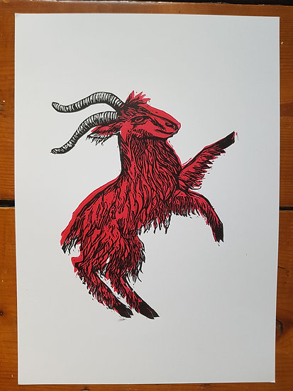Pink Goat Linoprint