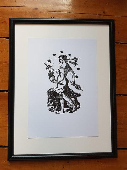 Europa Goddess Classical Original Lino Art Print Monochrome