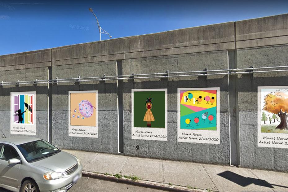 polaroid mural mockup