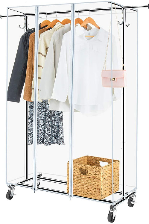 Greenstell Clothes Rack with Cover, Adjustable Garment Rack with Wheels