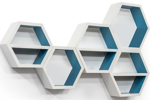 Set of 5 Honeycomb Wall Shelves, Removable Center Shelf, Teal Interior –