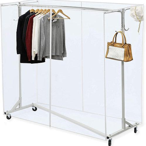 "Industrial Grade Z-Base Garment Rack, 400lb Load with 62"" Extra Long bar"