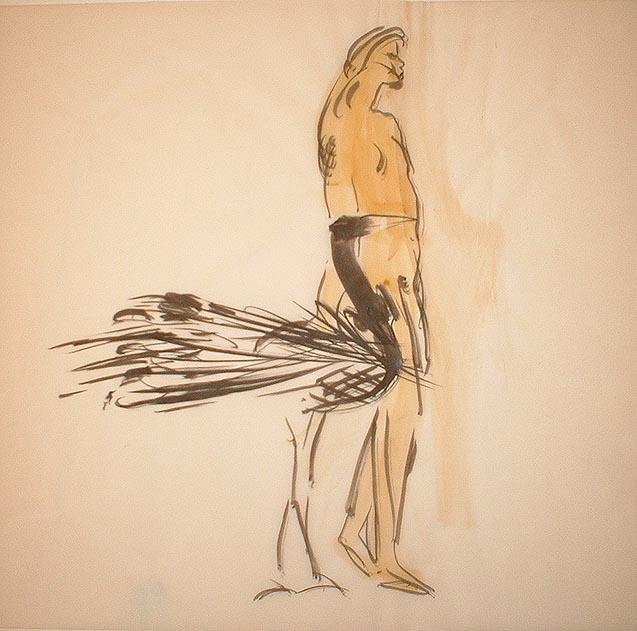 Frau mit Vogel