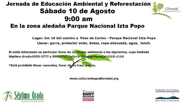 invitacion reforestacion Izta popo agost