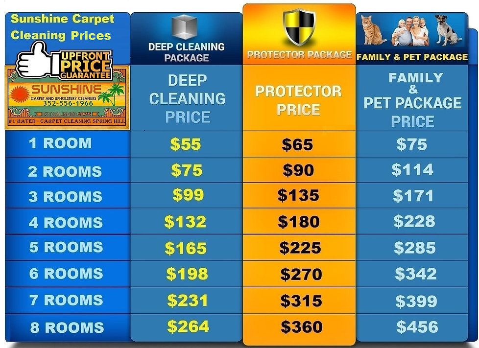 Carpet Cleaning Spring Hill Price Chart
