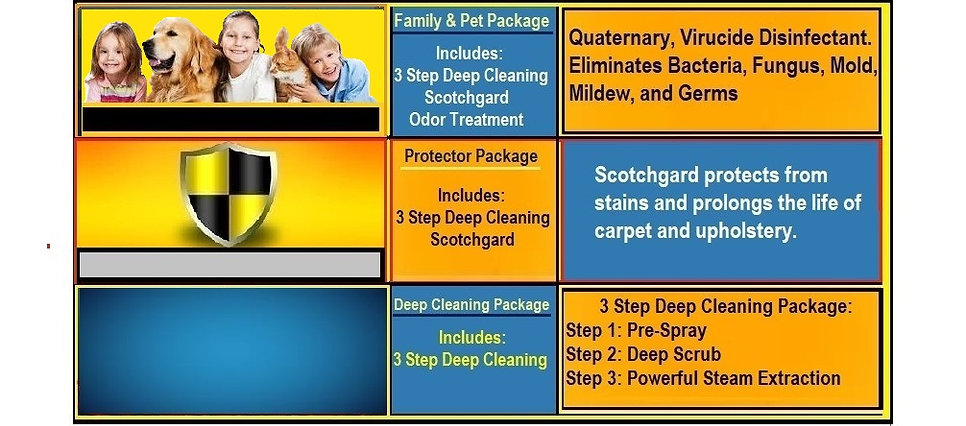 Brooksville carpet cleaning pricing chart