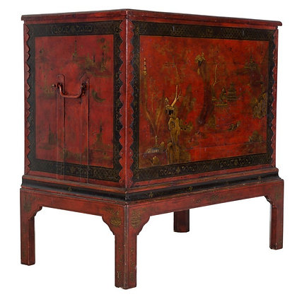 C19th red lacquer trunk