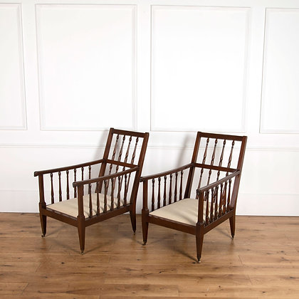 Pair of C19th Mahogany Library chairs