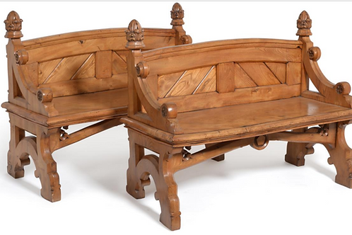 Pair of C19th Elm Hall Benches
