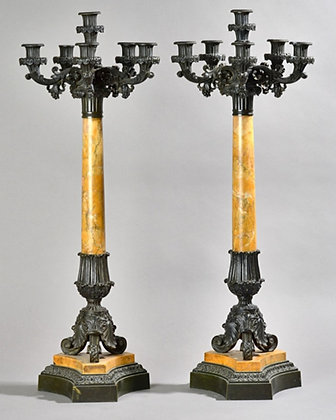 C19th pair Sienna marble and bronze Candelabra