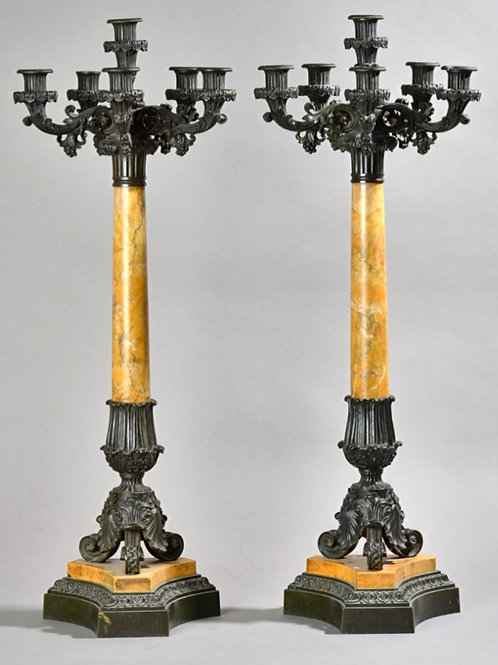 C19th pair Sienna marble and bronze Candelabra
