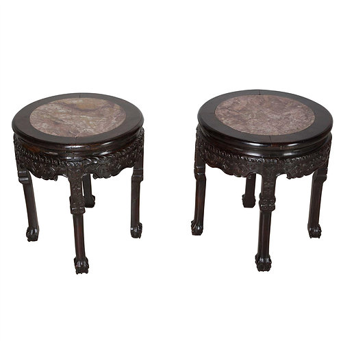 Pair of C19th Chinese Marble Top Low Occasional Tables