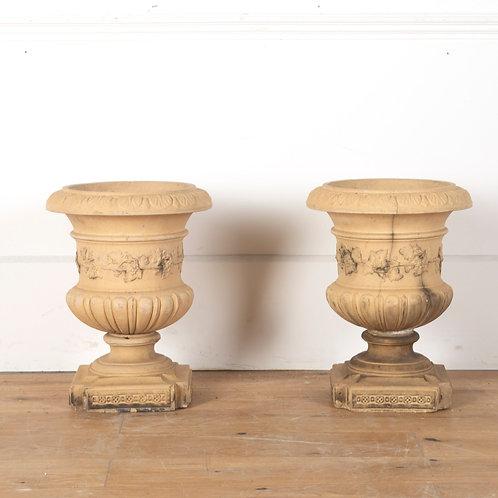 Pair of Buff Terracotta Urns
