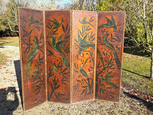 C19th decorated leather screen