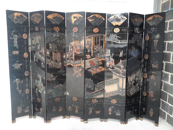 C19th 8 fold coromandel lacquered screen