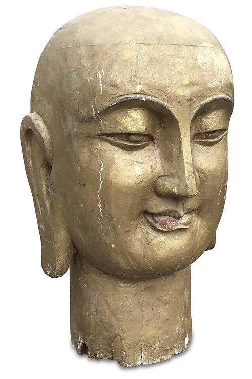 Very Large Carved C19th Tibetan Buddha head