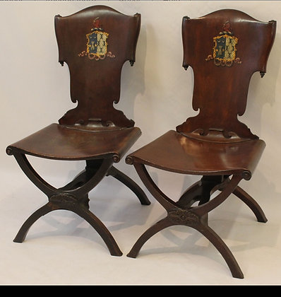 C18th pair of hall chairs