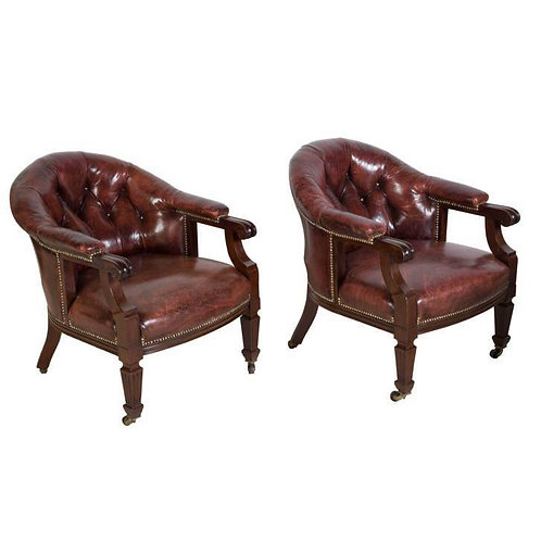 C19th pair leather library chairs