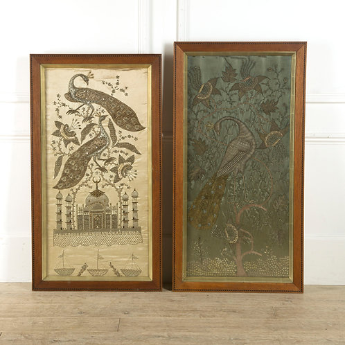 Pair of  C19th Indian Silkwork And Metal Thread Panels
