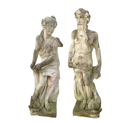 Pair of Lifesize C20th Vicenza stone Figure Statues
