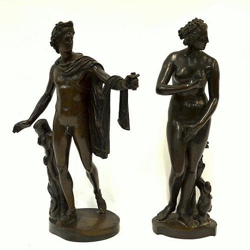 C19th pair of Grand Tour bronzes (Apollo & Venus)