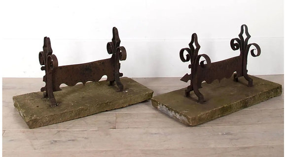 Large Pair of C19th Stone & Iron Boot Scrapers
