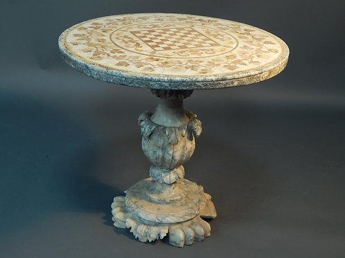 C19th Italian alabaster inlaid centre table
