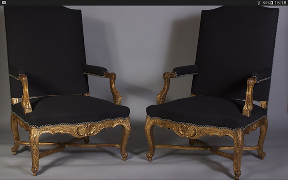C19th pair of Louis XV style chairs