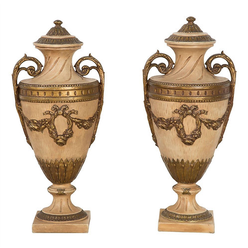 Pair of early C20th Terracotta Vase Urns