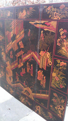 C19th leather screen