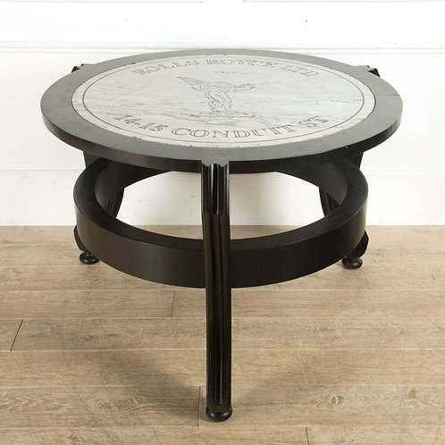 Rare Rolls Royce Marble Plaque Centre Table