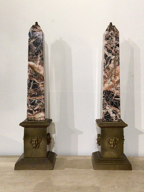 Pair of marble and bronze obelisk lamps