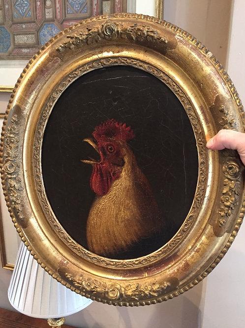 C19th Cockerel oil painting
