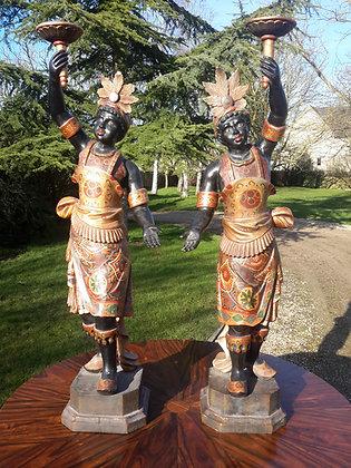 C19th pair of Italian Decorated Blackamore Figures