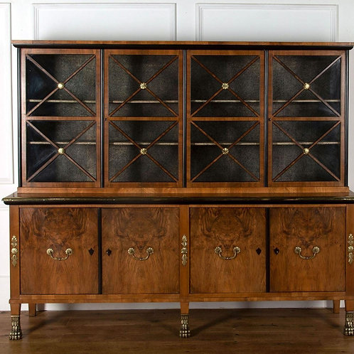 Early C20th Walnut, Brass and Ebonised Bookcase