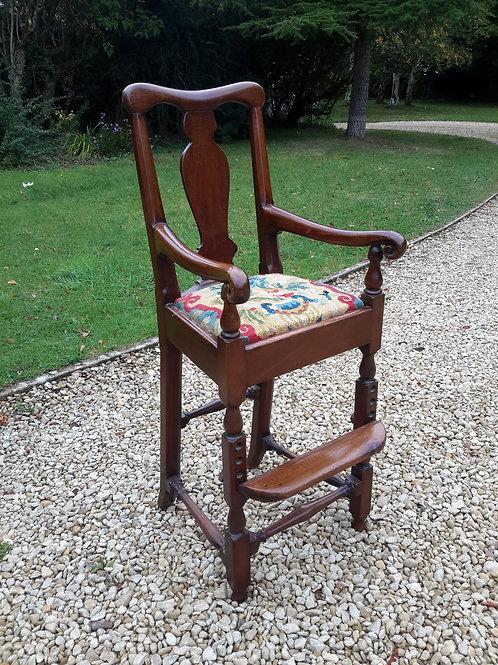 C18th oak childs high chair