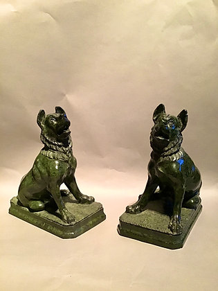 """C19th Pair of """"grand Tour"""" serpentine marble dogs"""
