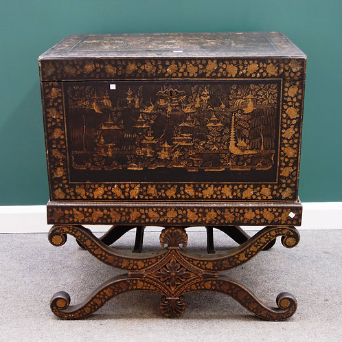 C19th Indian chinoiserie trunk