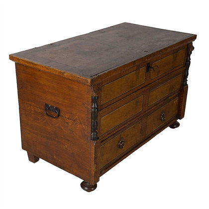 C19th Grained Oak Decorated Chest/Trunk