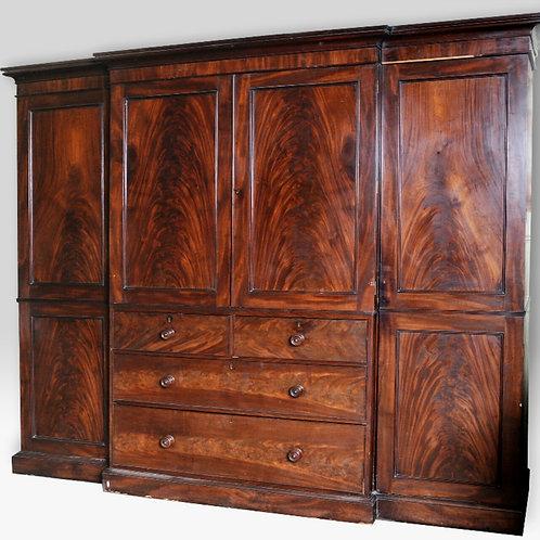 Regency Gillow mahogany breakfront wardrobe