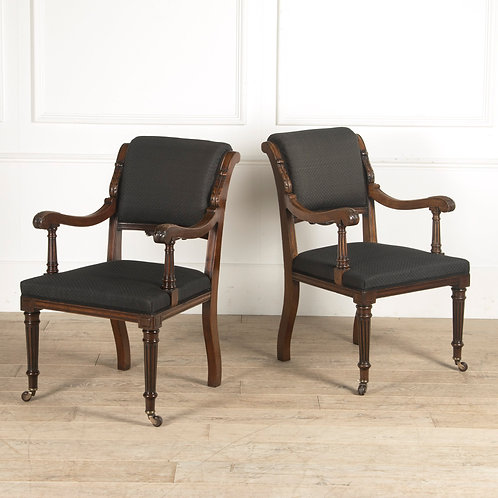 A Broad Pair of C19th Mahogany Open Arm Chairs