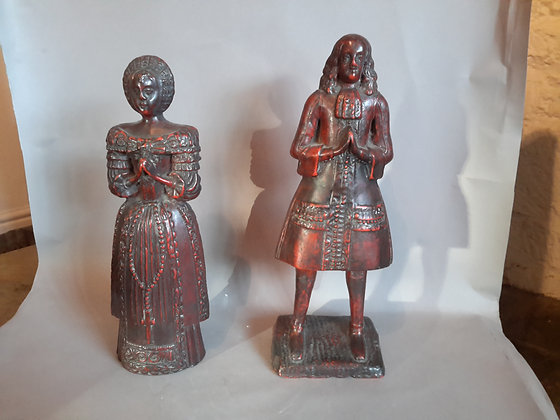 C18th pair red wax figures